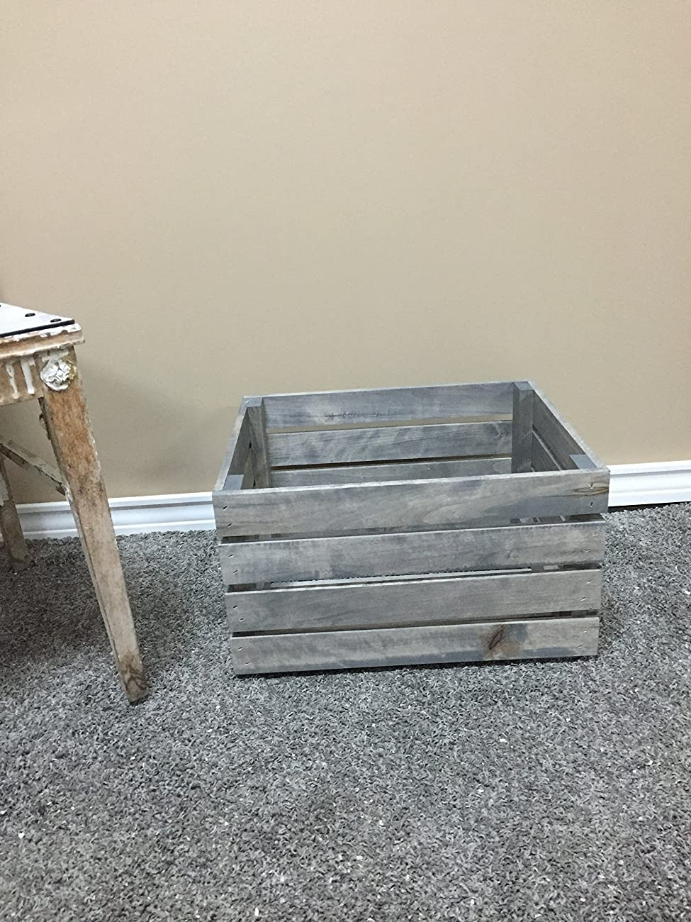 Antique Gray Stained Rustic Wood Crate 0