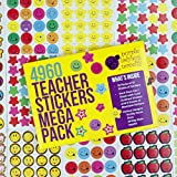 Purple Ladybug Novelty Teacher Stickers For Kids Mega Pack, 4960 Reward Stickers & Incentive Stickers for Teachers Classroom & School Bulk Use! Includes Smiley Face Stickers & Star Stickers!