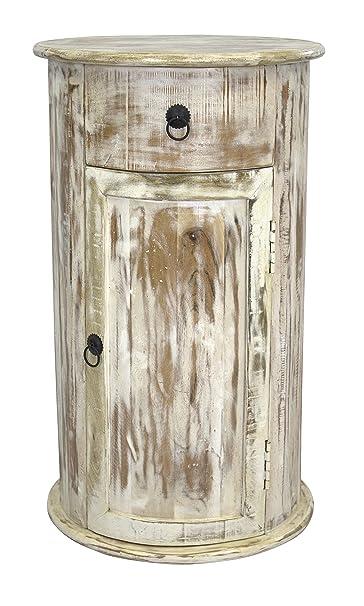 Schrank rund mit Schublade und Ture 75cm aus Mango-Holz