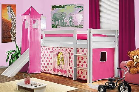 hochbett kinderbett spielbett mit turm und rutsche massiv kiefer. Black Bedroom Furniture Sets. Home Design Ideas