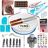 73 pcs Cake Decorating Supplies Kit for Beginners- Baking Supplies- 1 Turntable stand-24 Numbered icing tips-1 Cake Leveler-Straight & Angled Spatula- baking accessories & Cake tools- 3 Russian tips (Color: White, Tamaño: 73 Pcs)