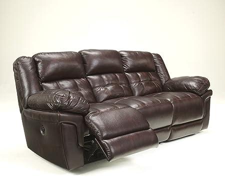 Randon Mahogany Finish Faux Leather Upholstered Divided Back Reclining Sofa