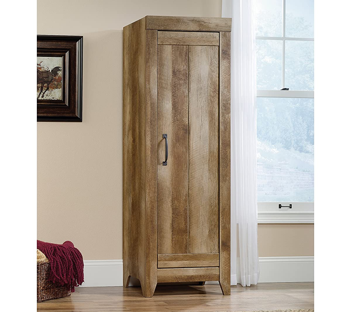 Sauder 418137 Storage Cabinet, Furniture Adept Narrow, Craftsman Oak