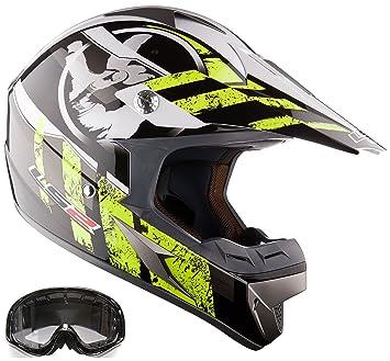 Casque moto lS2 mX433 & lunettes de motocross mX jaune