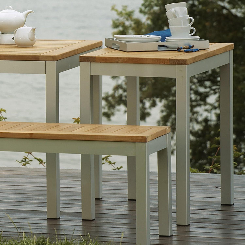 Quadrat Tisch – Gestell alufarben, Platte Teak natur / 50 x 80 cm, h 76 cm jetzt kaufen