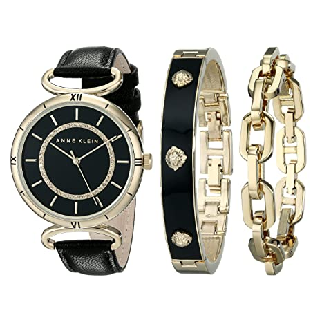 Anne Klein Women's AK/1938GBST Gold-Tone Swarovski Crystal-Accented Black Leather Strap Watch and Bracelet Set
