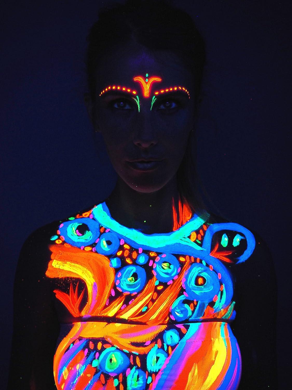 maquillaje neon fluorescente cara