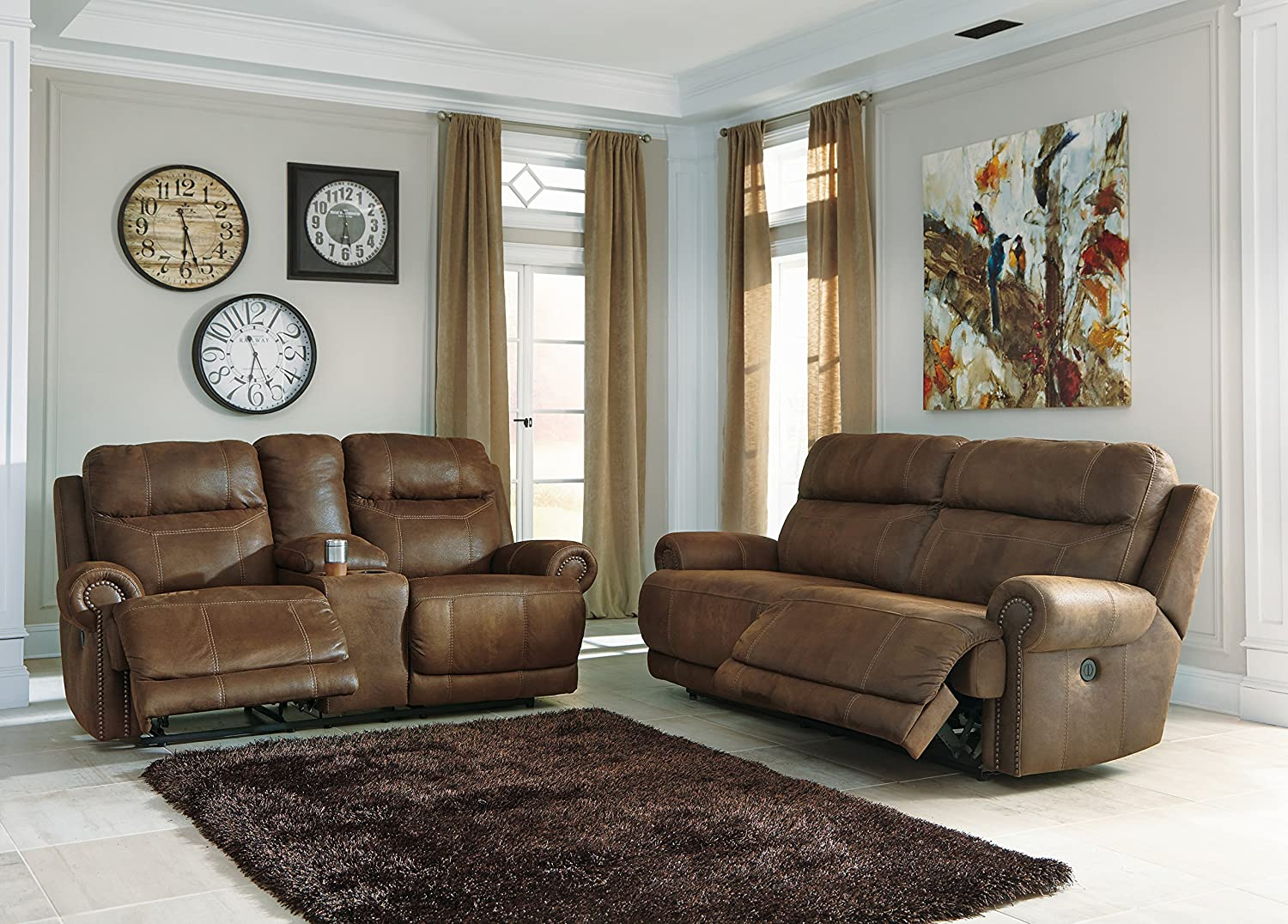 Austere Contemporary Brown Faux leather 2 Seat Reclining Sofa And Loveseat w/Console