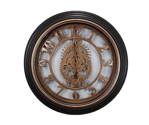 Kiera Grace Gears Wall Clock, 20-Inch, 2-Inch Deep, Bronze Finish