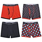 Perry Ellis Boys 4 Pack Cotton Tagless Boxer Briefs,True Red/Print/Black/Print,X-Large (Color: True Red/Print/Black/Print, Tamaño: X-Large)