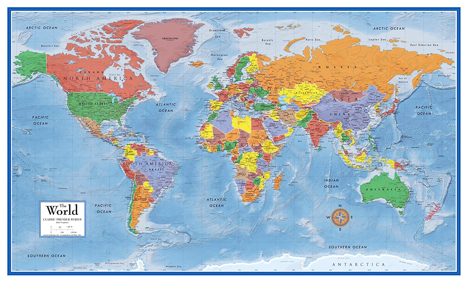 World Map Classic Huge Large Laminated Wall Map 48x78 Poster Home Office Scho