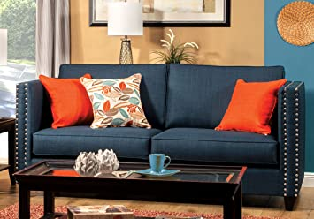 Furniture of America Antonia Tuxedo Sofa, Turquoise Blue