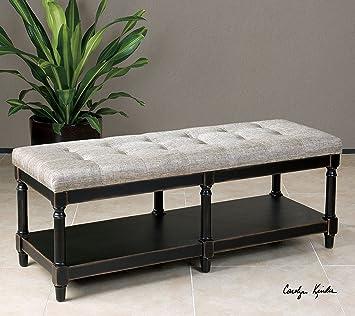 Turned Wood Classic Cushioned Bench | Tufted Black Khaki