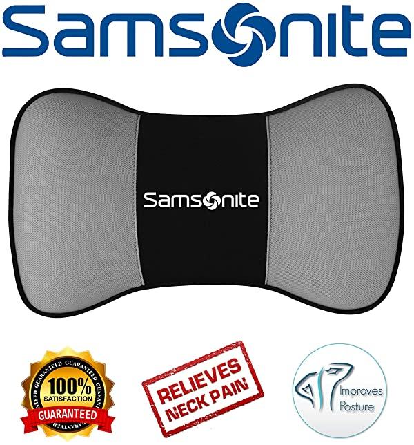 Samsonite SA5248 \ Travel Pillow for Car SUV \ Helps Relieve Neck Pain /& Improve Circulation \100/% Pure Memory Foam \ Fits Most Vehicles