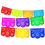 Fiesta Brands Mexican Papel Picado Banner.Colores de Primavera.Vibrant Colors Tissue Paper. Large Size Panels. Multicolored Flowers Design