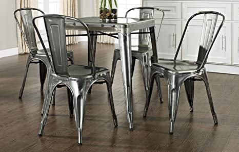Crosley Amelia Five-Piece Metal Cafe Dining Set with Table and Four Chairs, Galvanized