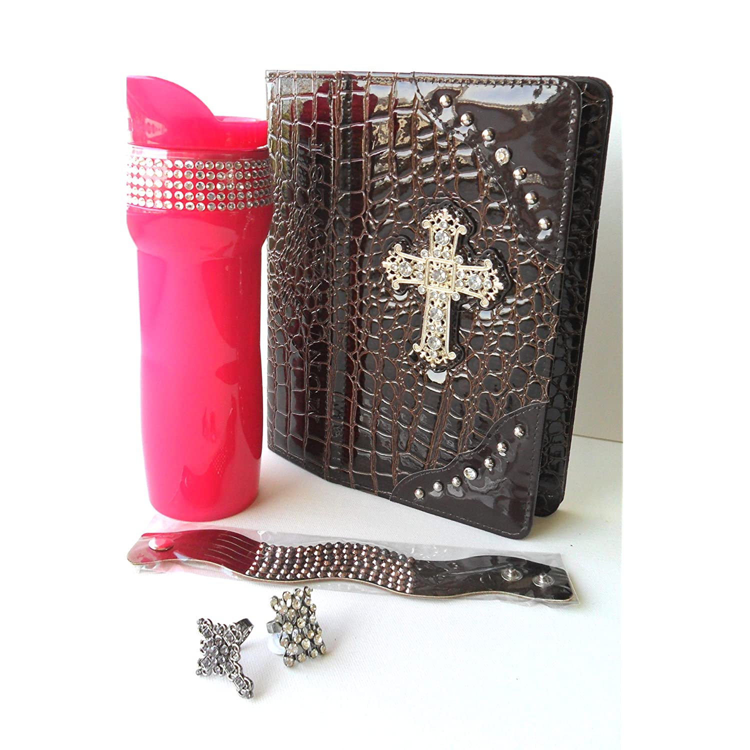 Rhinestone Bling Gift Set w iPad 2 Case &#038; Hot Pink Travel Coffee Mug