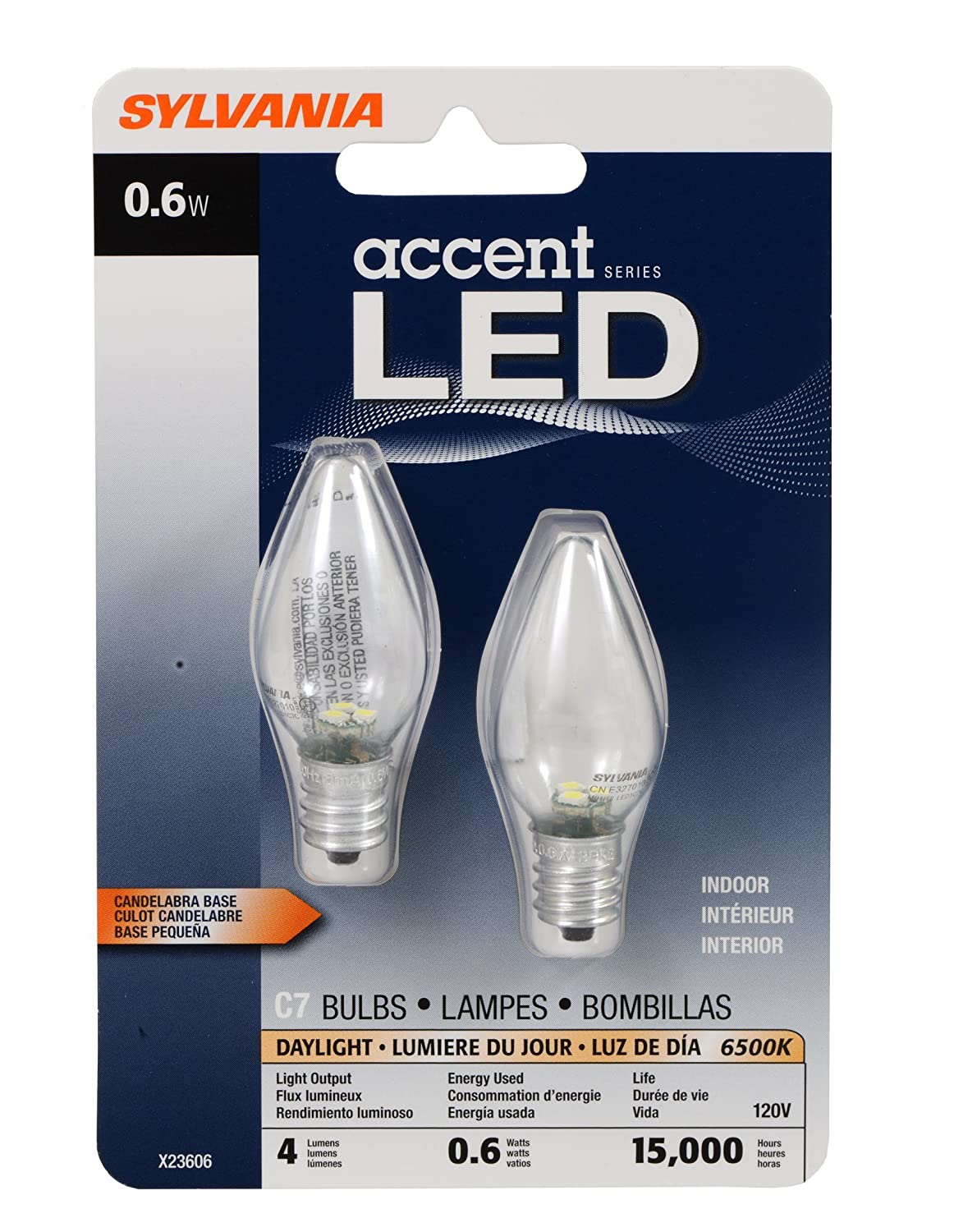 Sylvania 78563 0.6 Watt Accent LED C7 Night Light Bulb ...