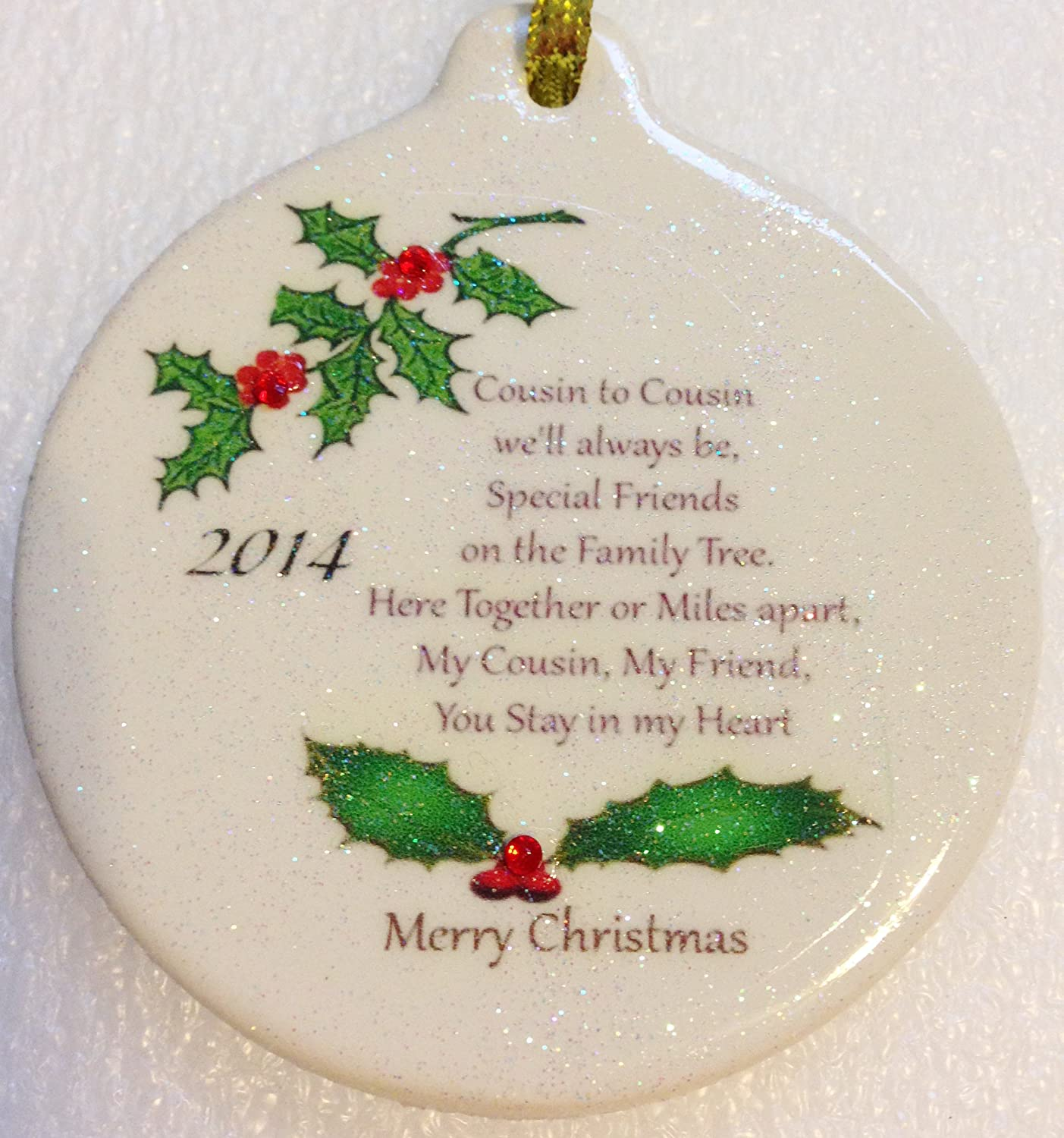 Cousin A Special Bond & Friend 2014 Porcelain Christmas Gift Ornament