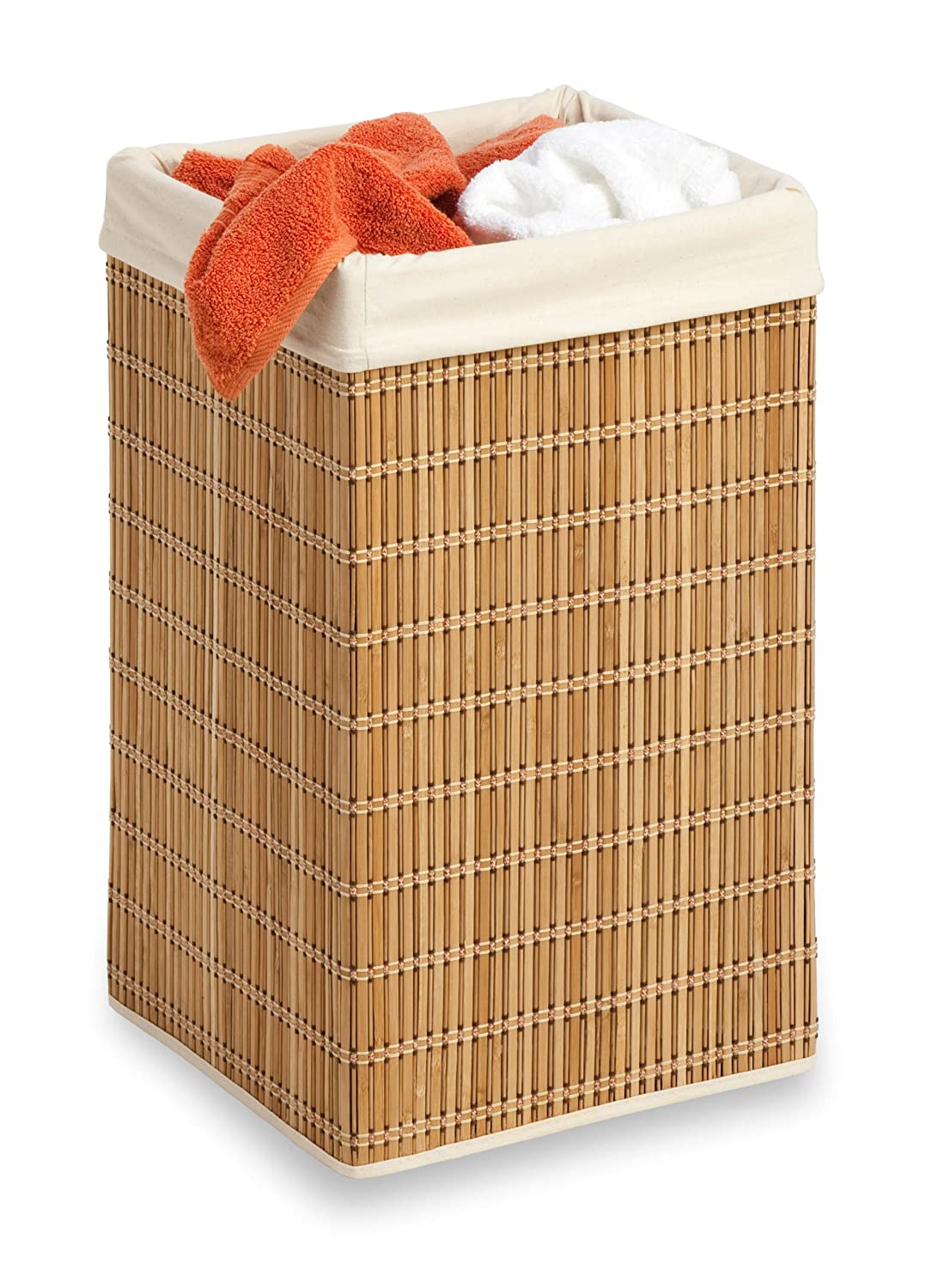 Honey can do hmp 01620 square wicker hamper clothing organizer bamboo new f ebay - Bamboo clothes hamper ...