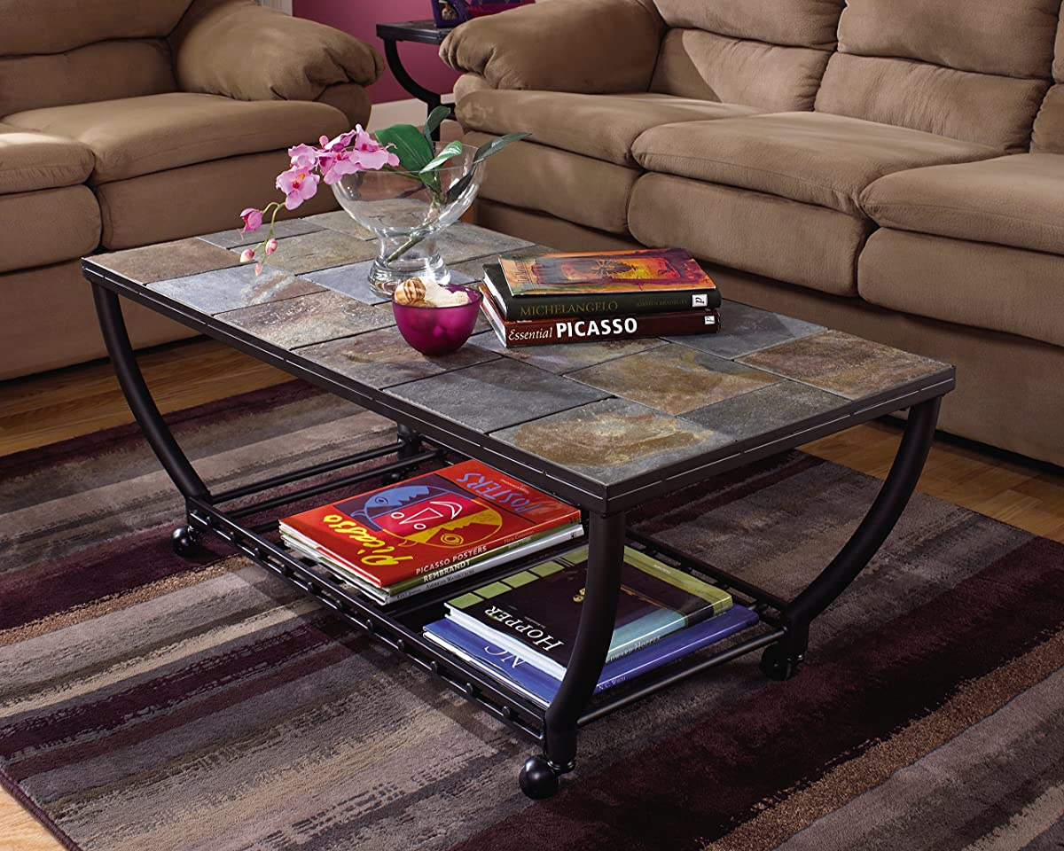 Ashley Furniture Signature Design - Antigo Coffee Table - Slate Top with Metal Bottom - Cocktail Height - Contemporary - Black