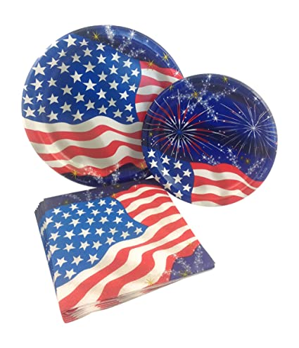 Flag u0026 Fireworks 4th of July Party Supply Pack! Bundle Includes Paper Plates u0026 Napkins for 8 Guests Red white and blue paper product bundle includes 8 ...  sc 1 st  Fourth Of July Wikii - Blogger & Fourth of July Tableware Bundles   Fourth Of July Wikii