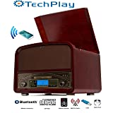 TechPlay TCP9560BT CH, Bluetooth 20W Retro Wooden 3 Speed Turntable with CD Player, AM/FM Radio, USB Recording & Playback with Remote Control – Cherry wood color (Color: Cherry Wood)