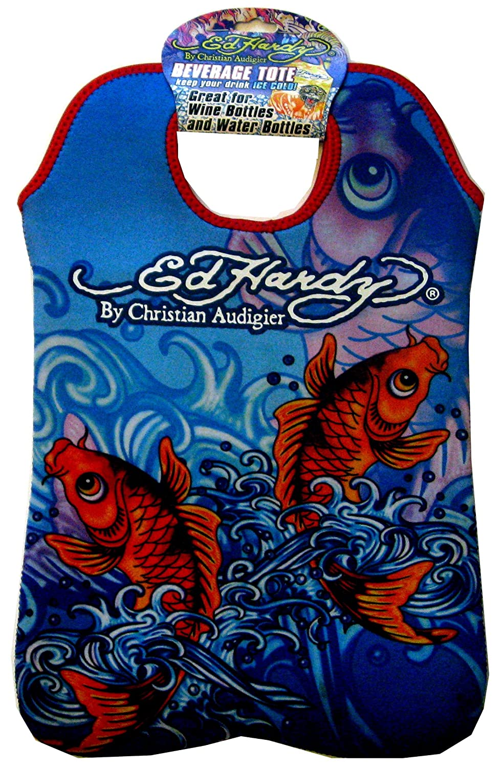 Ed Hardy Designs By Christian Audigier Neoprene Two-Bottle Wine Beverage Tote (Tattoo Ocean Koi Fish)