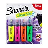 Sharpie 1912769 Clear View Highlighters, Chisel Tip, Assorted Colors, 4-Count (Color: Assorted Colors, Tamaño: 4-Count)