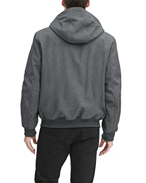 Tommy Hilfiger Men's Soft Shell Fashion Bomber with Contrast Bib and Hood, heather charcoal/black, Large (Color: Heather Charcoal/Black, Tamaño: Large)