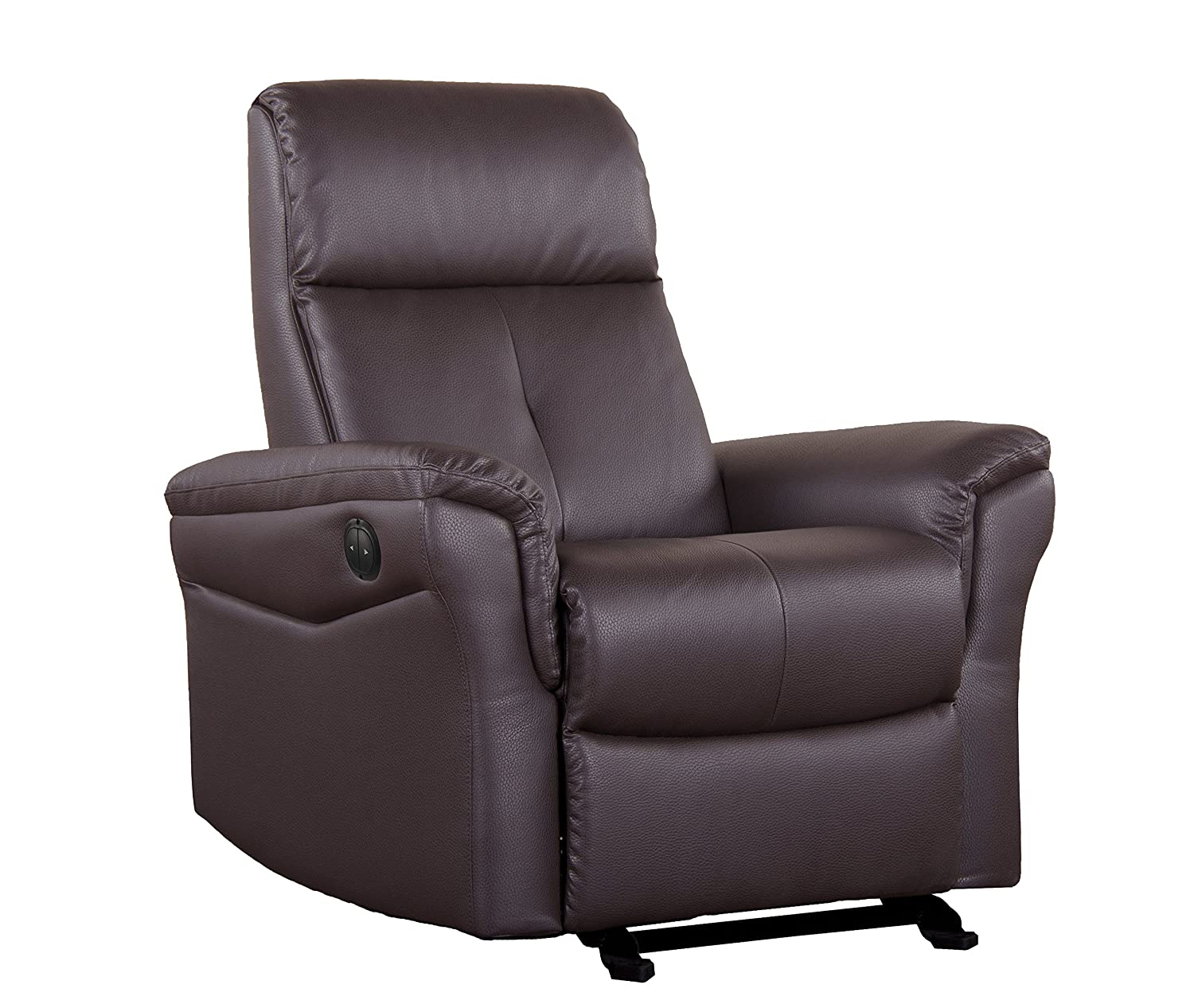 Shermag Glider with Push-Button Recline - Brown Bonded Leather