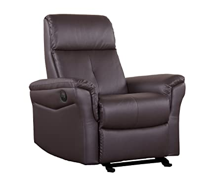 Shermag Glider with Push-Button Recline, Brown Bonded Leather