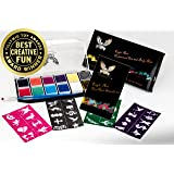 Award Winning Eagle Art Face Paint Combo Pack (1 Face Paint Kit, 1 Stencil Set & 1 Artist Brush Set) FDA Approved Cosmetic Grade Face Paint  Reusable Adhesive Stencil  Artist Pointed-Round Paintbrush (Color: Combo Pack, Tamaño: 1 Face Paint & 1 Stencil Set)