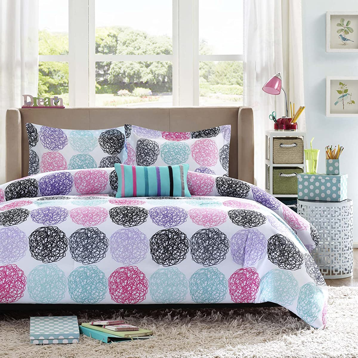 Mizone Carly 4 Piece Comforter Set, Full/Queen, Purple