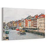 Westlake - Canvas Print Wall - Copenhagen Waterway - Canvas Stretched Gallery Wrap - Modern Picture Photography Artwork - Ready to Hang - 18x12in (37x 210)
