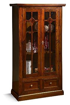 Vetrina in legno finitura noce arte povera, con 2 porte e 2 cassetti 81x42 H.153