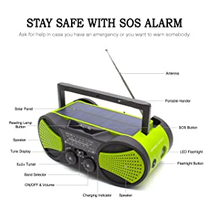 Solar Crank Emergency AM/FM NOAA Weather Portable Radio with Aux Line-In Input, 3W Flashlight, 1W Solar Panel, Reading Lamp & Rechargeable 4000mAh Power Bank for Cellphone and Gopro Camera