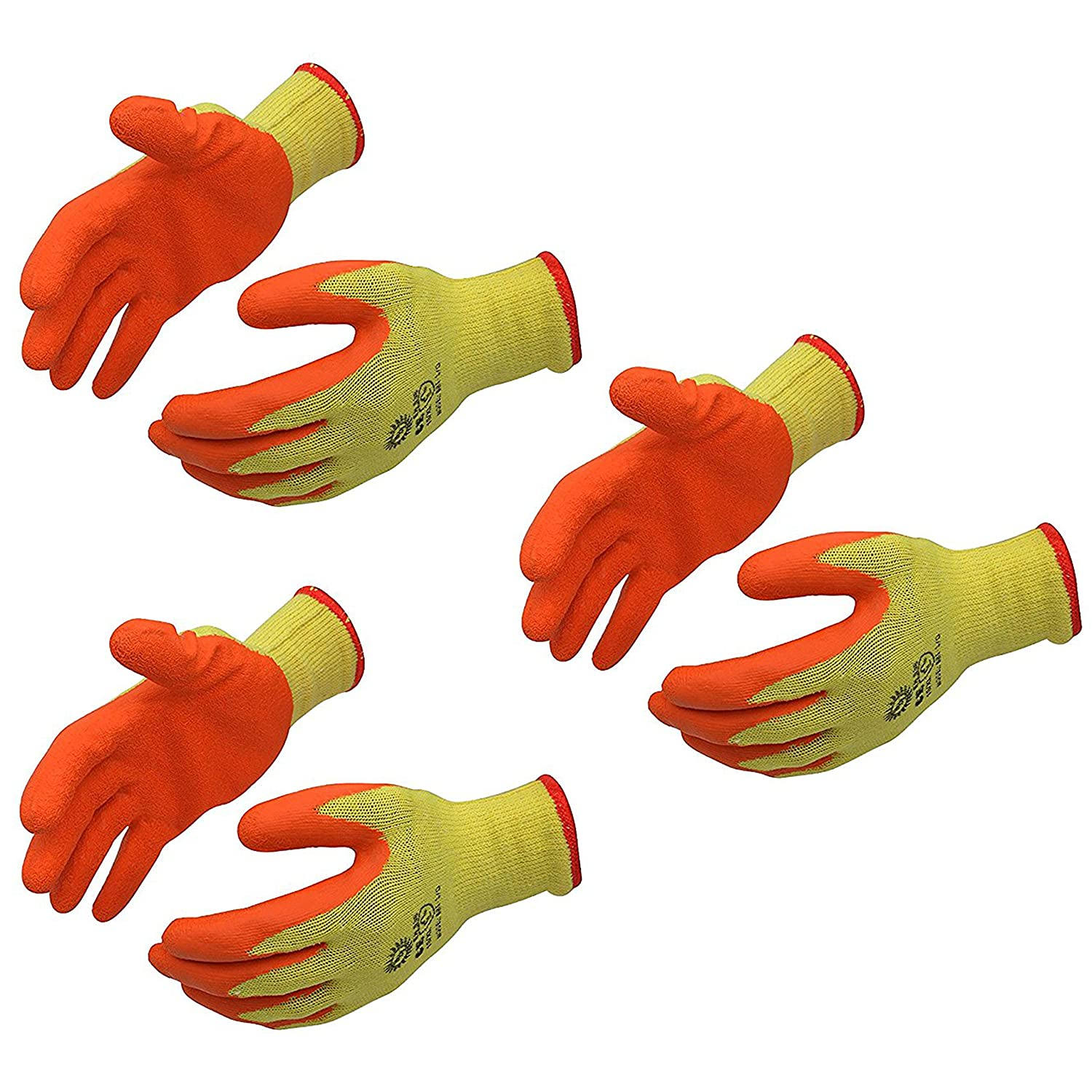 Klaxon Cotton Safety Hand Gloves (Yellow, Set of 6)