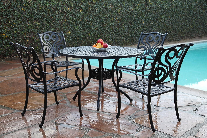 Outdoor patio cast aluminum furniture 5 piece dining set g for Outdoor furniture 5 piece
