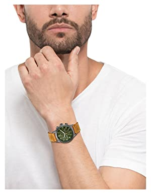 215bdb9ba Timex Men's TW4B04400 Expedition Scout Chrono Tan/Green Leather Strap Watch