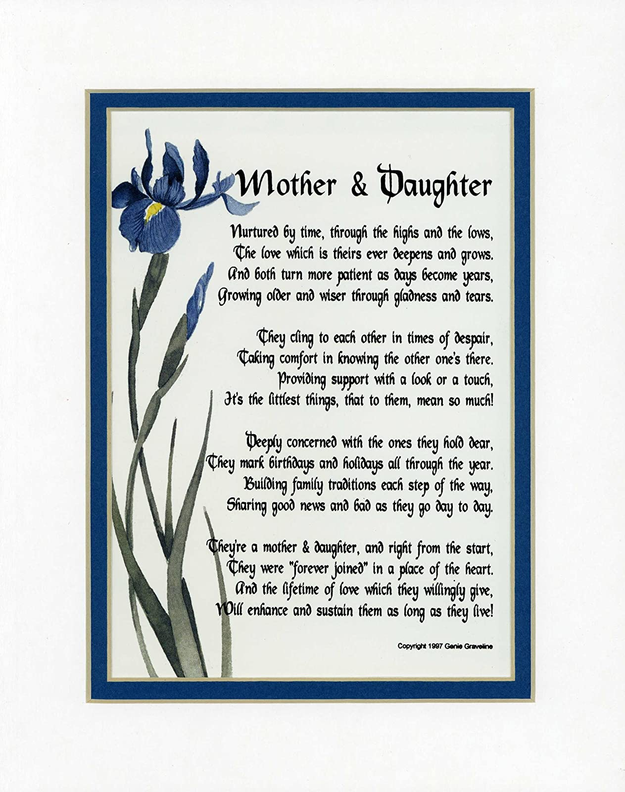images of mother & daughter touching 8x10 poem wallpaper