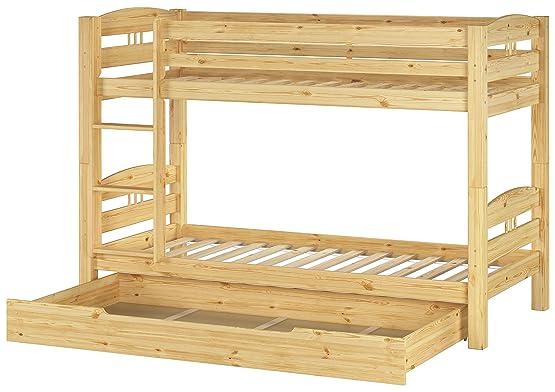 Letto a castello 90x200 per bambini divisibile con assi di legno e cassettone 60.10-09 S1