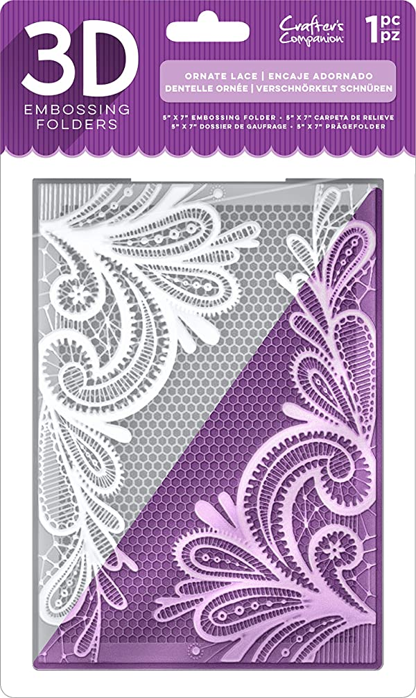 Die'Sire EF5-3D-OLACE 3D Embossing Folder, Clear (Color: Clear)