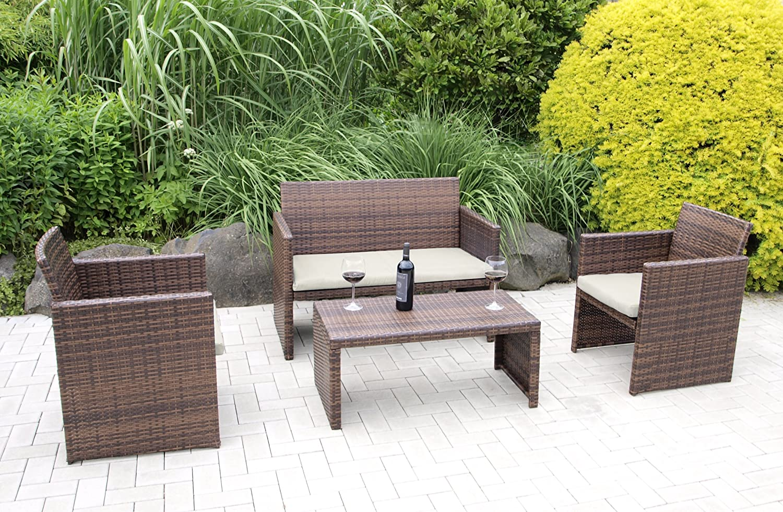 Lounge Garnitur Portofino 4-teilig, Stahl + Polyrattan braun, mit Polstern creme
