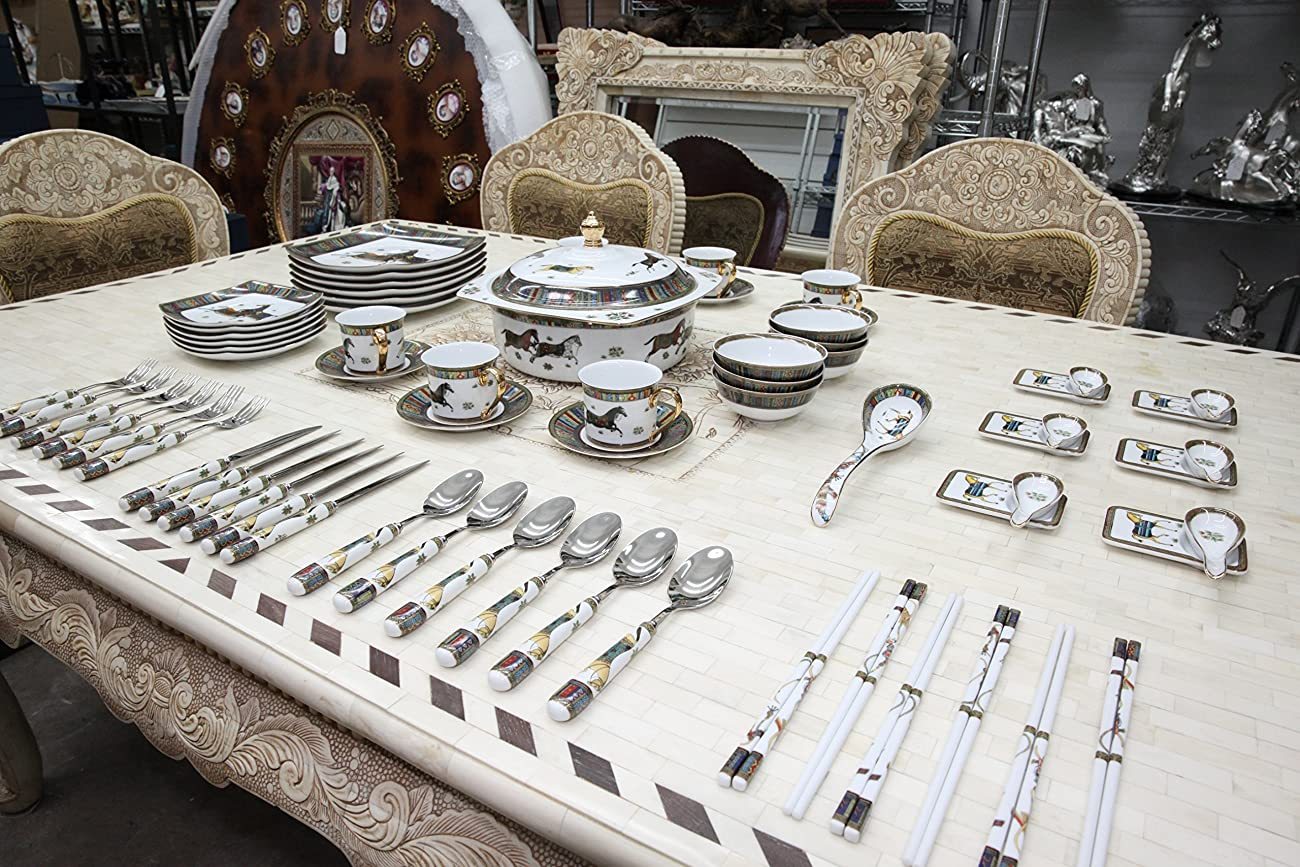 Royal Porcelain Greek Key Horse Cheval 75-pc Large Dinner and Sushi set, Service for 6, Vintage Luxury dinnerware banquet set in a case 5