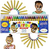 JOYIN 24 Colors Face Paint Safe & Non-Toxic Face and Body Crayons (Large Size 3 inch) Ultimate Party Pack Including 6 Metallic Colors for Superbowl Party Suppiles