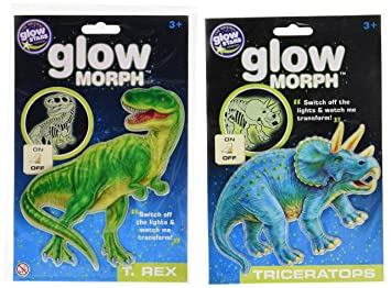 The Original Glowstars Company Glow Morph T-Rex and Glow Morph Triceratops