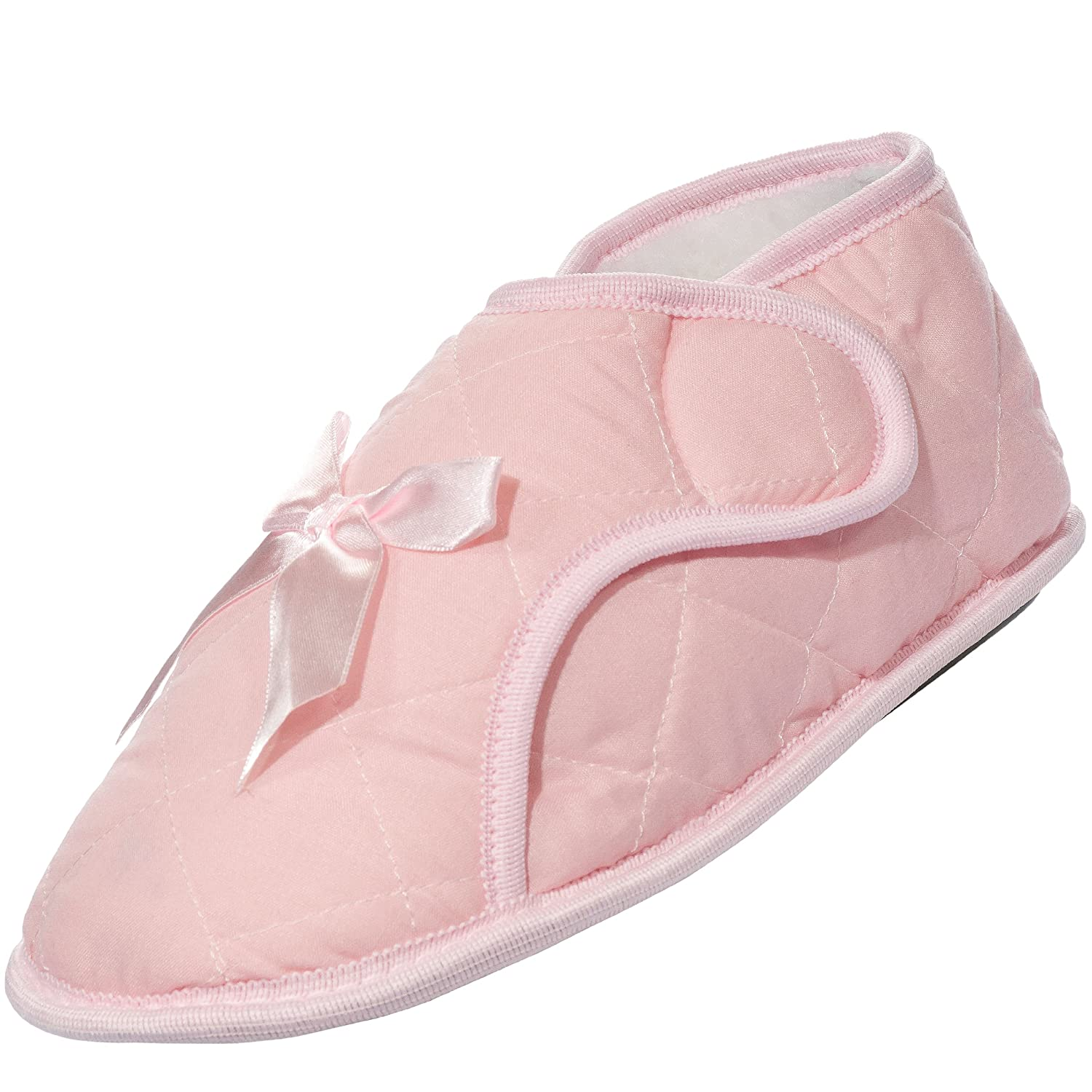 Womens Edema Bootie Slipper for Swollen Feet - Light Pink
