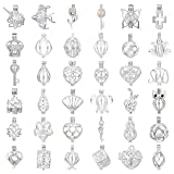 15pcs Mix style Jewelry Making Supplies Silver Plated Bead Cage Pendant - Add Your Own Pearls, Stones, Rock to Cage,Add Perfume and Essential Oils to Create a Scent Diffusing Pendant Charms