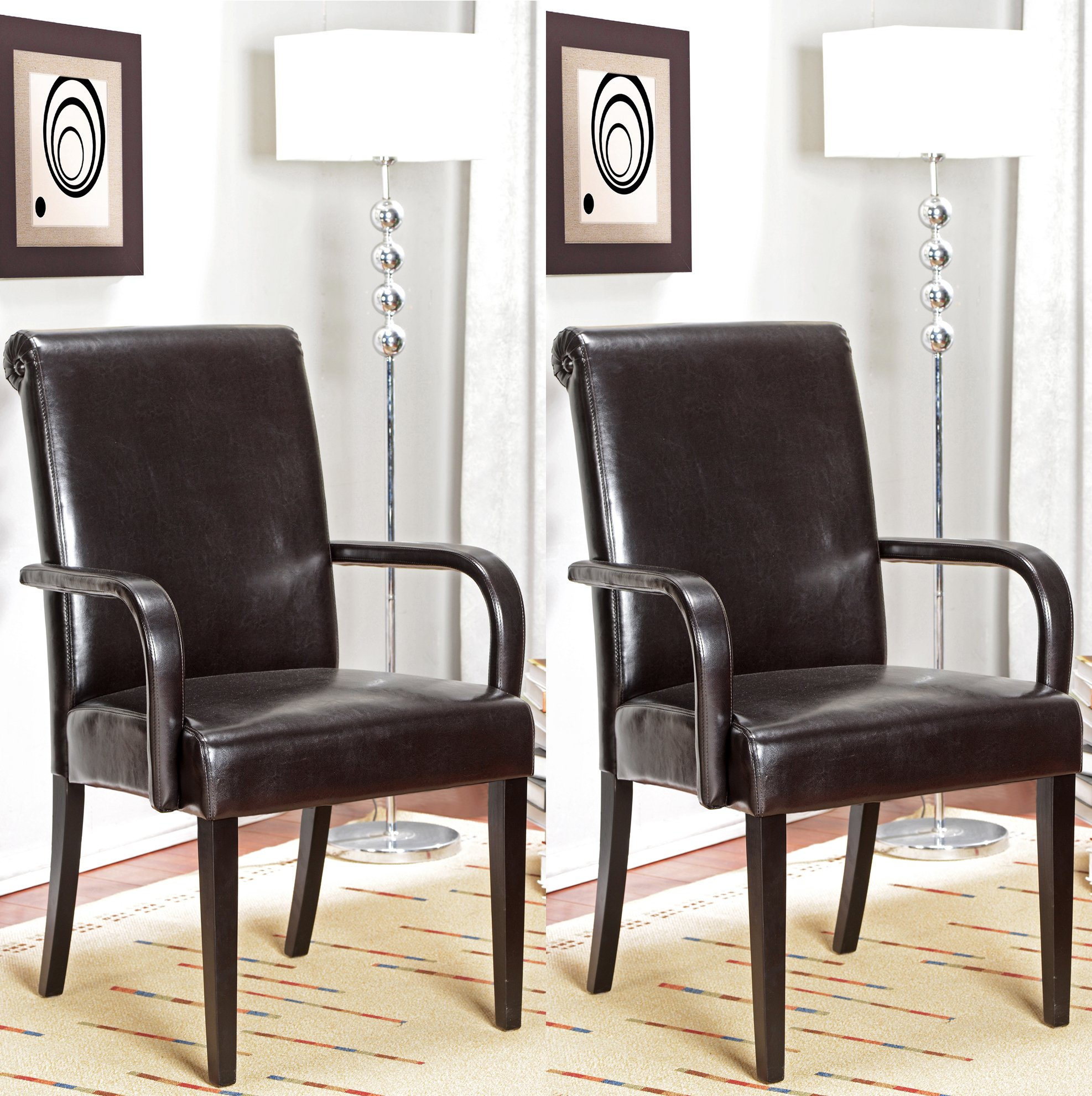 King 39 S Brand Set Of 2 Espresso Parson Chairs With Arms And Solid Wood Legs